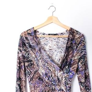 Nic + Zoe Long Sleeve Multicolored V Neck Top